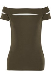 Bailey 44 Peretti Mesh Paneled Stretch Jersey Top Army Green