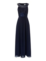 Eliza J Halter Style Gown With Embroidered Neckline Navy