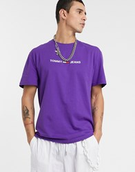 Tommy Jeans Chest Flag Logo T Shirt In Purple
