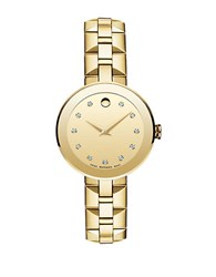 Movado Ladies Sapphire Goldtone Stainless Steel And Diamond Watch