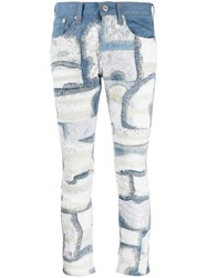 Junya Watanabe Floral Lace Panelled Jeans Blue