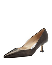 Manolo Blahnik Twixpla Low Heel Eelskin Pump Black
