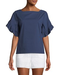 Laundry By Shelli Segal Ruffle Tiered Short Sleeve Button Back Top Midnight