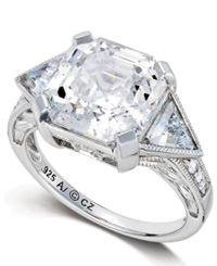 Arabella Sterling Silver Ring Swarovski Zirconia Engagement Ring 10 1 3 Ct. T.W.