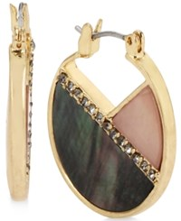 Kenneth Cole New York Gold Tone Pave Colored Shell Hoop Earrings