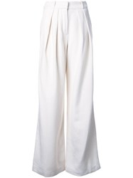 Jay Ahr Pleated Flare Trousers White