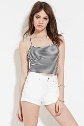 Forever 21 Cuffed Denim Shorts White