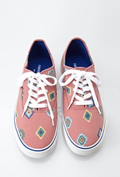 Forever 21 Southwestern Print Canvas Sneakers Red