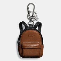 Coach Backpack Charm Black Dark Saddle