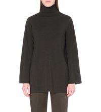 Max Mara Elegante High Neck Wool Jumper Olive Green
