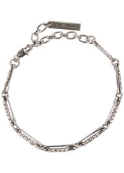 Marc Jacobs Crystal Embellished Safety Pin Bracelet Silver