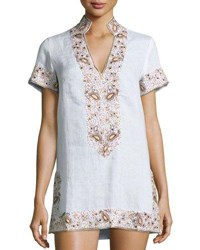 Flora Bella Viceroy Beaded Linen Short Coverup Tunic White Sunrise