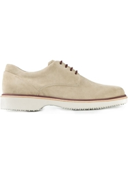 Hogan Ridged Sole Derby Shoes Nude And Neutrals