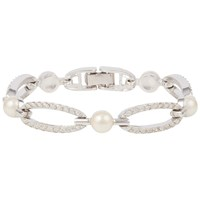 Susan Caplan Vintage 1980S Nina Ricci Silver Plated Faux Pearl And Swarovski Crystal Bracelet Silver