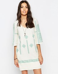 See U Soon Tunic Dress With Cross Stitch Embroidery Green