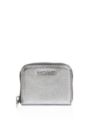 Miu Miu Madras Metallic Leather Coin Purse Silver Black