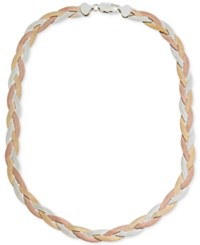 Giani Bernini Tricolor Braided Collar Necklace Created For Macy's Pink