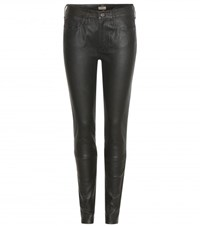 True Religion Halle Mid Rise Super Skinny Leather Trousers Black