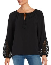 T Tahari Long Sleeve Lace Trim Peasant Top Black