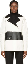 Cnc Costume National White And Black Colorblock Leather Biker Jacket