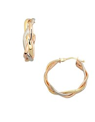 Lord And Taylor 14K Three Tone Gold Braided Hoop Earrings Two Tone