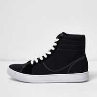 River Island Mens Black Canvas Hi Top Trainers