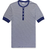 Schiesser Karl Heinz Slim Fit Striped Cotton Jersey Henley T Shirt Blue