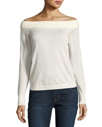 Rebecca Taylor Wool Blend Off The Shoulder Sweater White