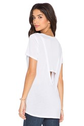 Lanston Open Back Deep V Tee White
