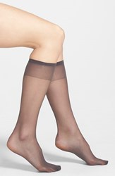 Plus Size Women's Nordstrom Sheer Knee High Socks Soft Black
