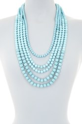 Madison Parker Five Row Beaded Necklace Green