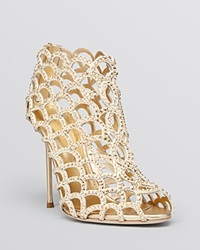 Sergio Rossi Open Toe Caged Evening Sandal Booties Mermaid Crystal High Heel Gold Strass