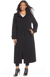 Gallery Long Nepage Raincoat With Detachable Hood Plus Size Black