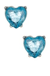 Betsey Johnson Lady Lock Crackle Cz Heart Stud Earrings Blue