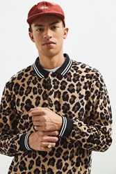 Urban Outfitters Uo Printed Velour Rugby Shirt Brown Multi
