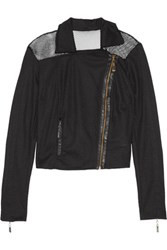 Just Cavalli Faux Leather Trimmed Mesh Biker Jacket Black