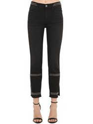 Frame Stretch Cotton Denim Jeans W Studs Black