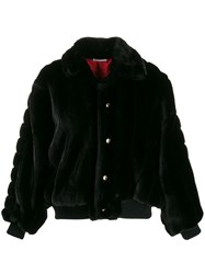 Gcds Oversized Faux Fur Jacket Black