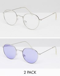 Asos 2 Pack 90S Round Sunglasses With Lilac Lens And Clear Lens Multi