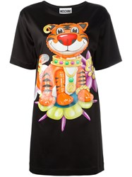 Moschino Bejewelled Tiger T Shirt Dress Black
