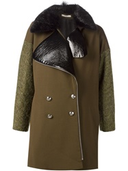 Bouchra Jarrar Faux Fur Collar Double Breasted Coat Green
