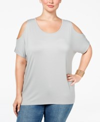 Ing Plus Size Cold Shoulder Tunic New Grey