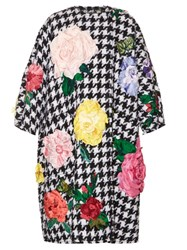 Dolce And Gabbana Flower Applique Tweed Coat Black White
