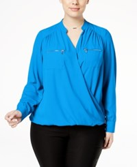 Inc International Concepts Plus Size Surplice Blouse Only At Macy's Caribe Blue