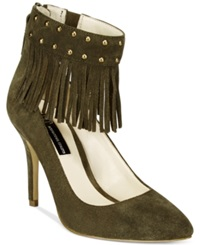 Inc International Concepts Britanii Fringe Pumps Only At Macy's Women's Shoes Deep Olive