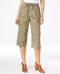 Karen Scott Drawstring Waist Printed Capri Pants Only At Macy's Olive Vine