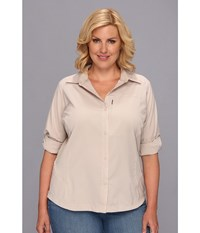 Columbia Plus Size Silver Ridge L S Shirt Fossil Women's Long Sleeve Button Up Beige