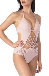 Kenneth Cole Women's New York Push Up One Piece Swimsuit Blush
