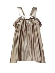 Rochas Metallic Effect Silk Blend Trapeze Top Silver