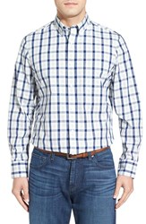 Nordstrom Men's Men's Shop Regular Fit Pattern Sport Shirt Navy Peacoat Light Green Plaid